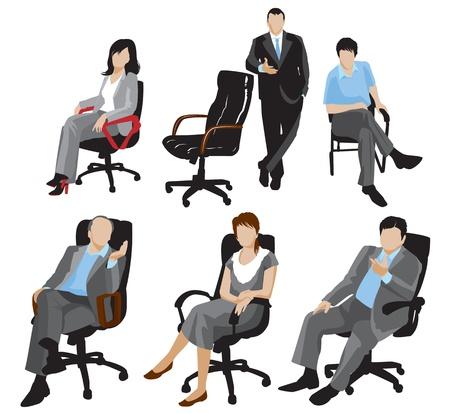 donna seduta sedia: uomini d'affari sagome