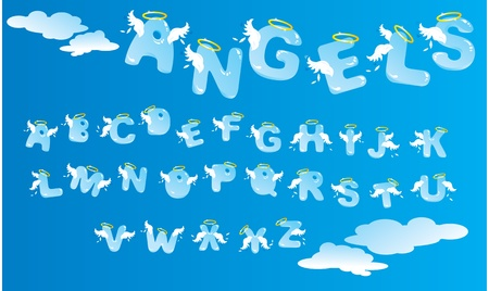 Alphabet with funny angels letters and clouds Vector