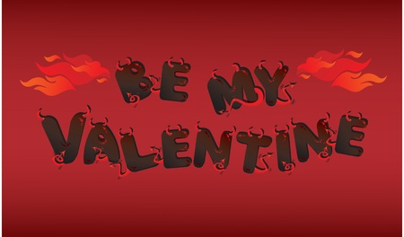 Postcard for Valentine`s Day with funny devils letters Vector
