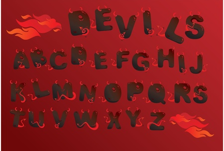 fire font: Alphabet with funny demons letters and fire Illustration