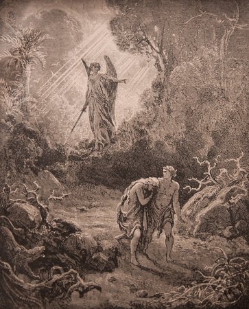 knelt: Antique engraving, Expulsion of Adam and Eve from Paradise. The book Holy Bible, 1913 Editorial