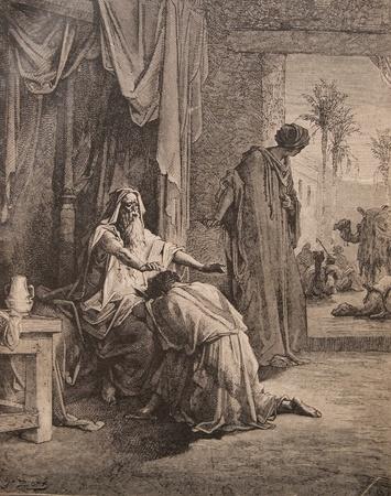 """retour: Antieke gravure, """"Terugkeer van de Verloren Zoon"""". Het boek """"Heilige Bijbel"""", 1913 Redactioneel"""