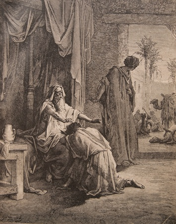 blessing: Antique engraving, Return of of the Prodigal Son. The book Holy Bible, 1913 Editorial