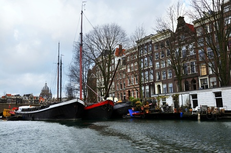 Amsterdam canal view with boats