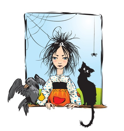 Baby witch with black cat, raven and spider looking out the window -color illustration. Vector