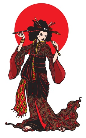 Belle femme japonaise avec des épingles à cheveux sur fond blanc avec un cercle rouge.