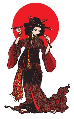 Japanese kimono girl: người phụ nữ Nhật Bản xinh đẹp với kẹp tóc trên nền trắng với vòng tròn màu đỏ.
