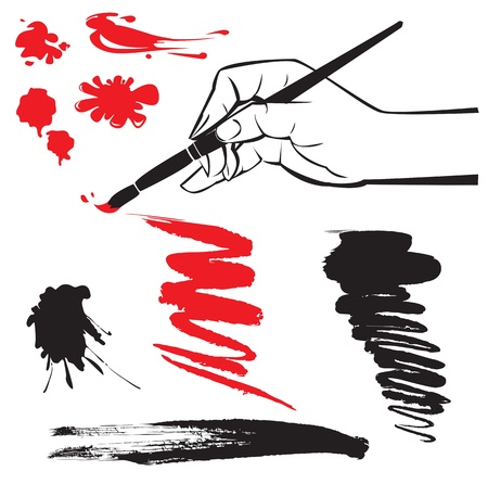 body silhouette: set of black and red blots and hand with brush on the white background