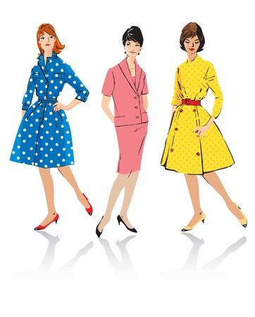 Jeu de femmes élégantes - rétro mannequins style - printemps