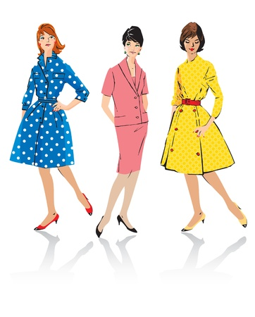 retro illustration: Set of elegant women - retro style fashion models - spring season