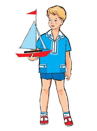 toy boat: Sketch of Pretty boy with boat model in his hand in retro style Illustration
