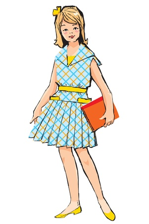 Sketch of Pretty girl with book in her hand in retro style Vector