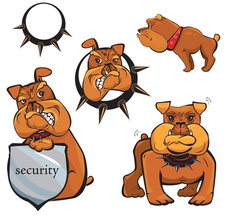face guard: Set of Bulldog cartoons Illustration