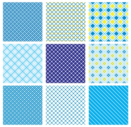 yellow fleece: set of seamless patterns with fabric checked textures Illustration