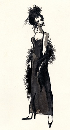 woman fur: Hand drawn ink sketch with beautiful woman dressing black evening dress