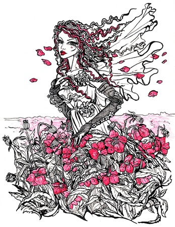 year profile: Ink Illustration of a female allegory of summer on poppy field