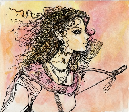 hair bow: Female Elf portrait with arrows and bow. Fantasy fairy tale illustration Stock Photo