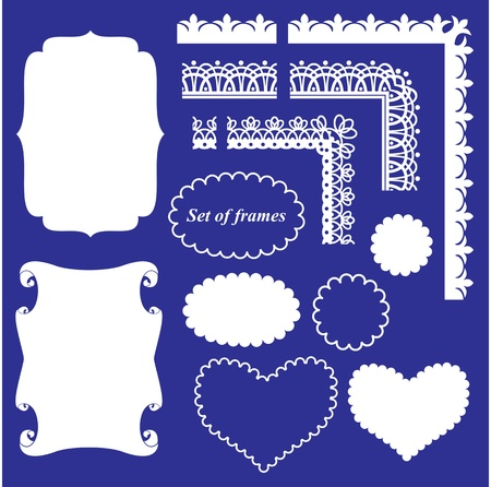 Frame Set - different frames and borders on blue background
