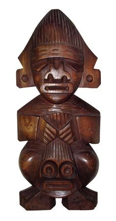 african mask: wood handmade Peru statue -  god Tumi - isolated on white background