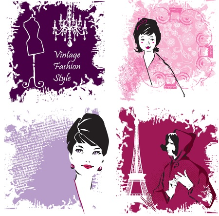 Set of Fashion Woman image retro cards Illustration