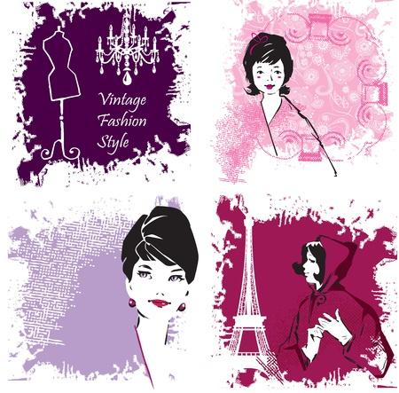 manikin: Set of Fashion Woman image retro cards Illustration