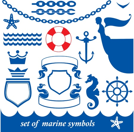 Set of marine elements - chain, anchor, crown, shield, wheel, noun, etc. Vector
