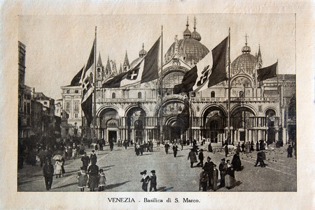 ITALY - CIRCA 1910: A picture printed in Italy shows image of Saint Marco Basilica  in Venice, Vintage postcards Italy series, circa 1910