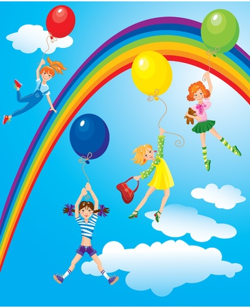 cute girls flying away on balloons on sky background with rainbow Vector