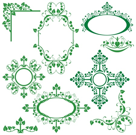 Set of floral elements - corner, oval, circle, vignette - for design. Vector
