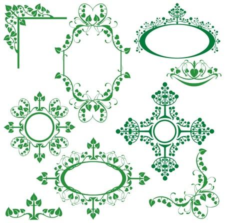Set of floral elements - corner, oval, circle, vignette - for design. Stock Vector - 12482939