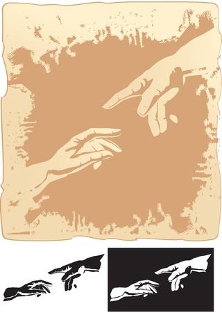 mano de dios: dos manos estilizadas para la creación de murales de Miguel Ángel s