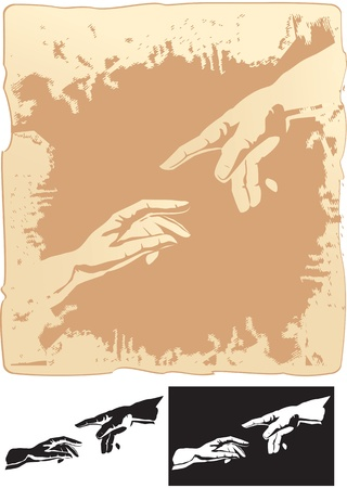 two hands stylized for michelangelo s creation mural Vector