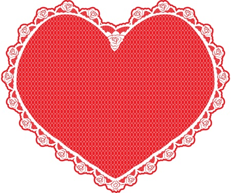 heart shape lace doily, white on red background Vector