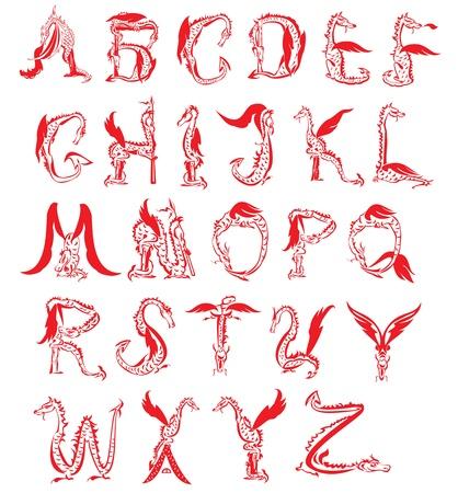 alphabetical letters: alfabeto drag�n, drag�n de la fantas�a de la fuente