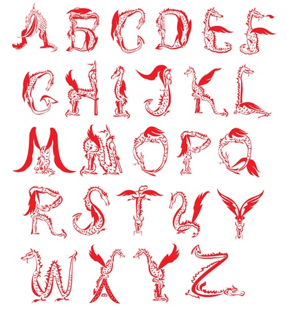 dragon alphabet, fantasy dragon font Vector