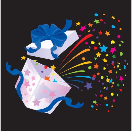 booming: Open Gift Box with rainbow colors confetti booming on black background