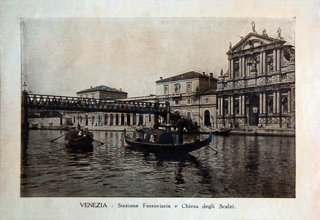 ITALY - CIRCA 1910: A picture printed in Italy shows image of Stazioni Ferroviario in Venice, Vintage postcards Italy series, circa 1910