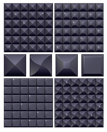 Set of 4 seamless black mosaic backgrounds Stock Vector - 12653106