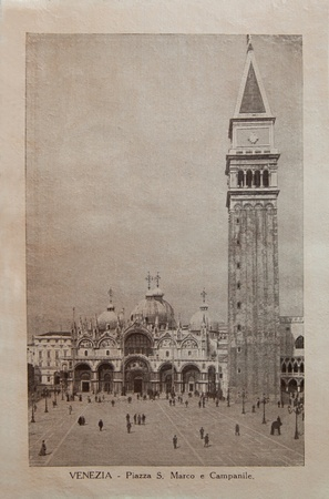 ITALY - CIRCA 1910: A picture printed in Italy shows image of Saint Marco Piazza, Vintage postcards Italy series, circa 1910