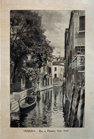 ITALY - CIRCA 1910: A picture printed in Italy shows image of Palazzo Van Axel in Venice, Vintage postcards Italy series, circa 1910