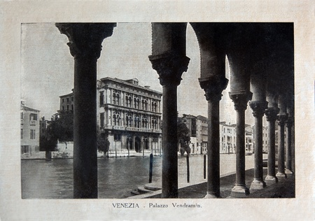 ITALY - CIRCA 1910: A picture printed in Italy shows image of Palazzo Vendramin in Venice, Vintage postcards Italy series, circa 1910