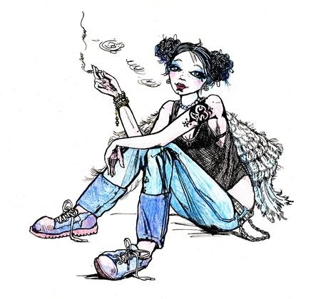 joven fumando: Chica hippie �ngel tabaquismo - dibujado a mano ilustraci�n