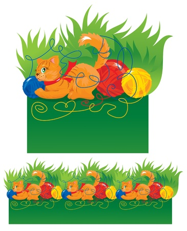 Seamless border for children - Cat playing with a ball Vector
