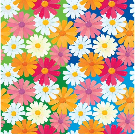 oxeye: seamless textures of ox-eye daisy flowers Illustration