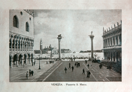 ITALY - CIRCA 1910: A picture printed in Italy shows image of Saint Marco Square in Venice, Vintage postcards Italy series, circa 1910