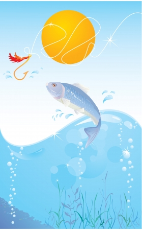 fish and hook Stock Vector - 13828728