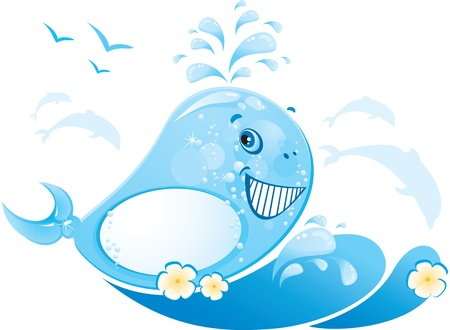 funny whale is made of water drop Vector