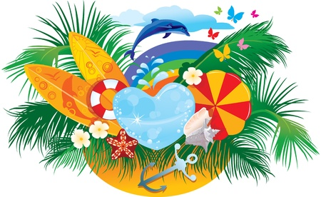 rainbow umbrella: summer background with palms, shells, surfboards, rainbow and dolphin
