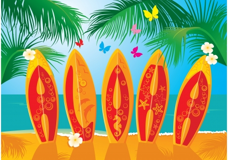 Summer Holiday Postcard - surf boards with hand drawn text Aloha Vector