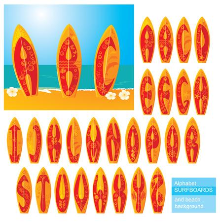 surf board: ABC - alfabeto - tablas de surf con letras dibujadas a mano